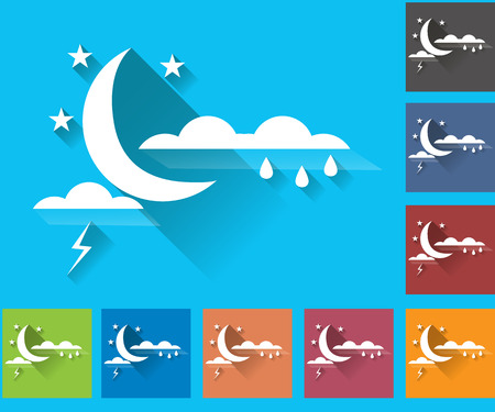 storm clouds: Weather set of icons in a flat style. Storm. Rain clouds and lightning. Multicolored icons for weather forecasting.