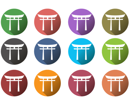 shinto: Japan Gate. Torii gate. Flat. Shinto. A set of vector icons in different colors.
