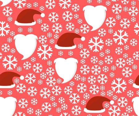 pompon: Santa Claus hat and beard. Seamless pattern with snowflakes. Illustration