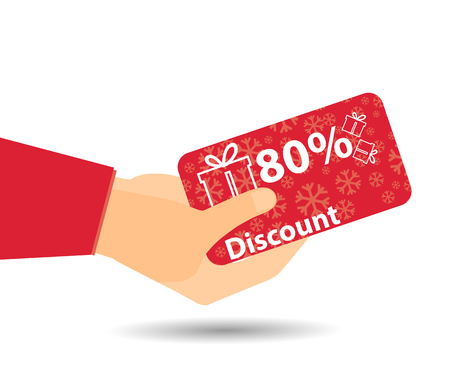 coupon sign: Discount coupons in hand. 80-percent discount. Special offer for holidays and weekends. Card with a pattern of snowflakes and gift boxes. Design element in a flat style.