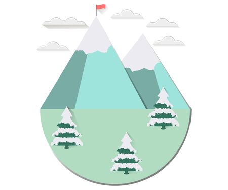 snowcovered: Winter landscape with a flat style. Sun with clouds over the mountain peaks. Snow-covered trees. The flag on top. The long shadow. Vector illustration. Illustration