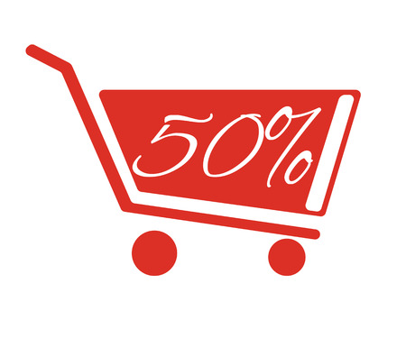 inexpensive: Shopping carts with a discount of 50 percent. The red truck on a white background. Illustration