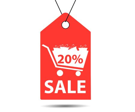 Sale tag. Label with 20 percent discount. The cart with gifts.