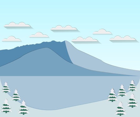snowcovered: Winter landscape with a flat style. Clouds over the mountain peaks. Snow-covered trees. Vector illustration.