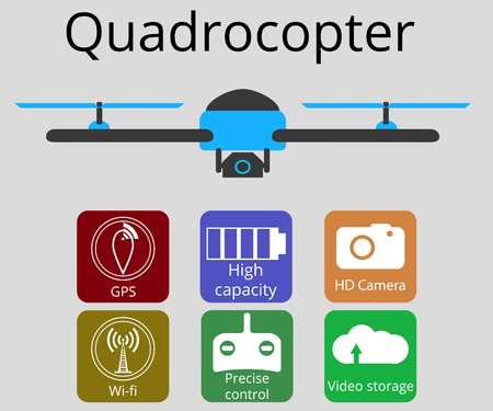 unmanned: Quadrocopter, drone. Unmanned aerial vehicle. Flat vector promotion infographic.