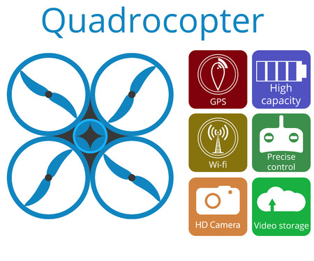 remote view: Quadrocopter, drone. Unmanned aerial vehicle. Flat vector promotion infographic.
