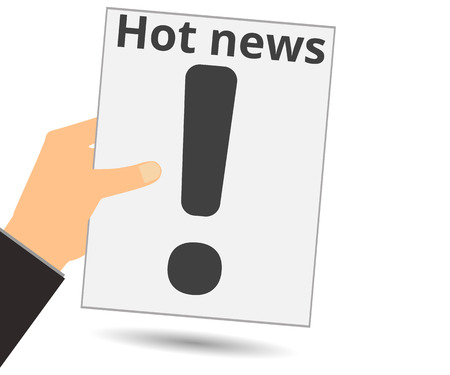 news reader: Hold in your hand a newspaper. Hot news. Exclamation mark. Vector illustration.