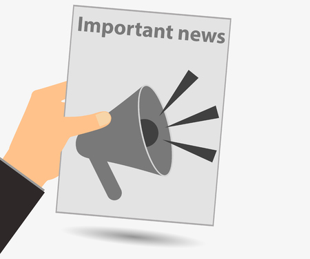gazette: Hold in your hand a newspaper. Important news. Megaphone. View news in the newspaper. Vector illustration.