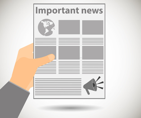 news reader: Newspaper in hand. Important news read in a newspaper. Vector illustration.