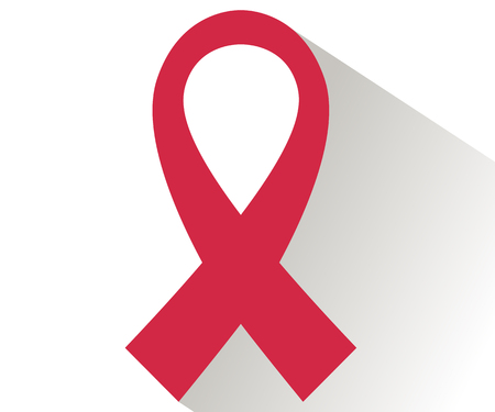 cause: Red ribbon in flat style. World AIDS Day.
