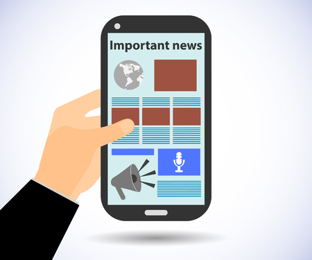 online newspaper: Online Newspaper. Smartphone in hand. Important news. Tablet PC.