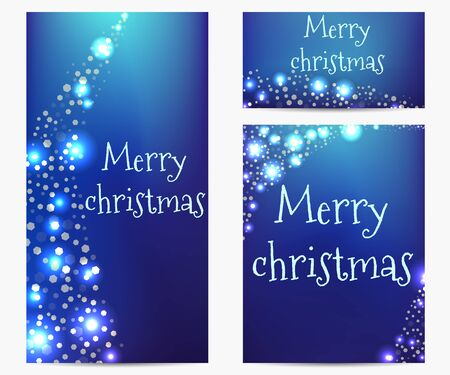 placecard: Bright banners bokeh style. Merry Christmas.