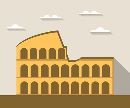 colosseo: Colosseum in Rome. Illustration in a flat style