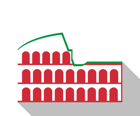 italian tradition: Colosseum in Rome. Illustration in a flat style