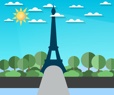 paysage: Eiffel Tower. Landscape in a flat style.