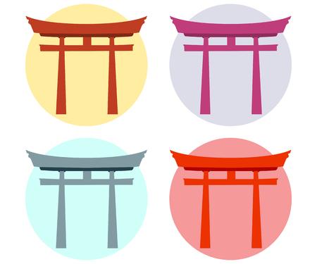 shinto: Japan Gate. Torii gate. Flat. Shinto