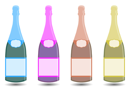 bung: Champagne. A bottle of wine. Vector illustration in a flat style. Illustration