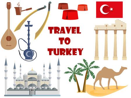 saz: Travel to Turkey. Symbols of Turkey. Tourism and adventure. Illustration