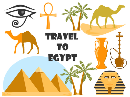 landscape architecture: Travel to Egypt. Symbols of Egypt. Tourism and adventure. Illustration