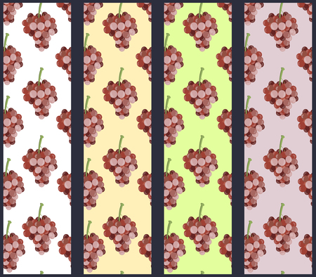 grapevine: Seamless pattern with grapevine. Grapes pattern. Set.