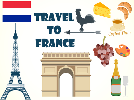 Symbols of France. Set. Tourism.