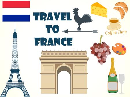 frenchman: Symbols of France. Set. Tourism.