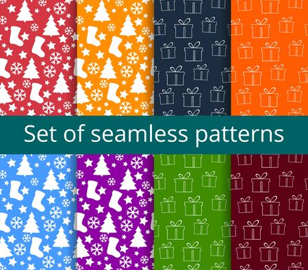 festal: Set of seamless patterns. Symbols of Christmas and winter. Illustration