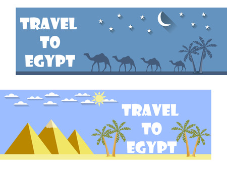 cheops: Welcome to Egypt. Flat travel banner. Tourism.