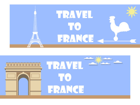 french culture: Welcome to France. Banner in a flat style. Tourism.