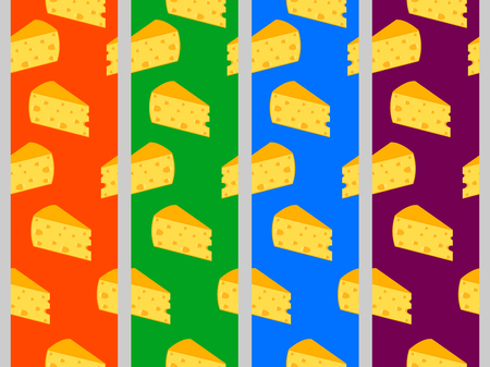 cheez: Seamless pattern with cheese. Cheese with holes. Set. Illustration