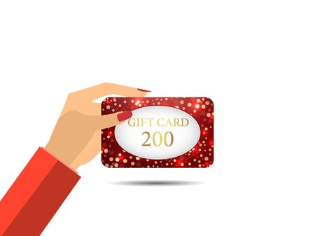 cost reduction: Gift card in hand. Discount coupons. Womans hand. Vector illustration.
