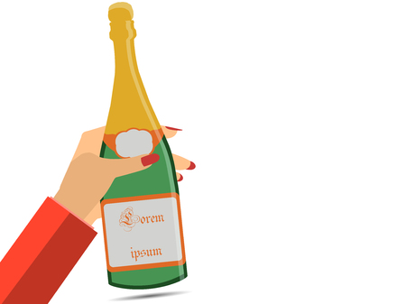 sommelier: Hand holding a bottle of champagne. Female hand. Wine.