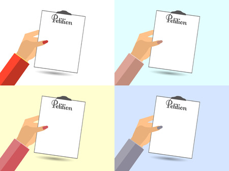 The petition in hand. Vector illustration in a flat style. Design element. Set.