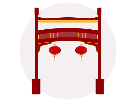 Chinese gate. Paifang.Vector illustration.