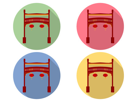 asiatic: Chinese gate. Paifang. Flat icon set. Illustration