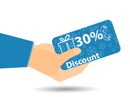 discount card: Discount coupons in hand. 30-percent discount. Special offer. Snowflakes and gift boxes.