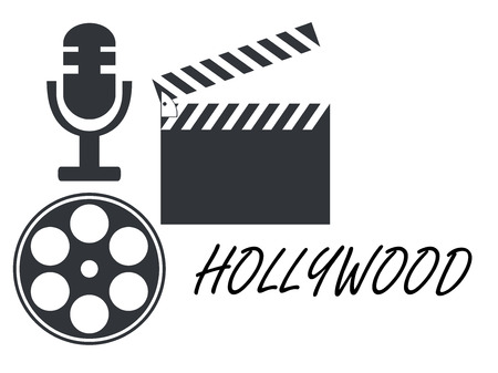poppers: Film reel, movie clapper, microphone. Icons. Illustration