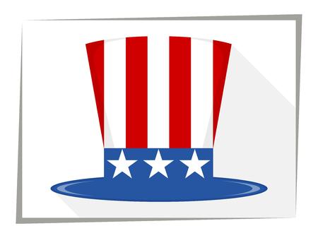 sam: Uncle Sam Hat. Flat. Vector illustration Illustration