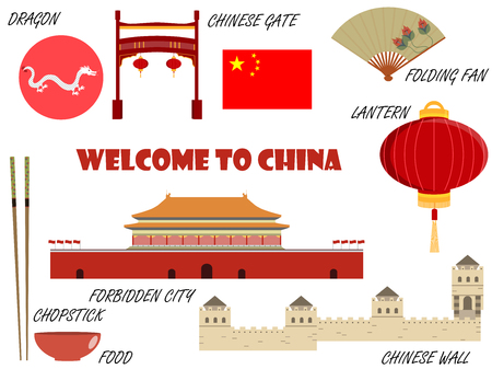forbidden city: Welcome to China. Symbols of China. Set of icons. Vector.