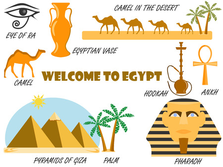cheops: Welcome to Egypt. Symbols of Egypt. Set of icons. Vector.