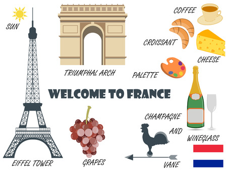 frenchman: Welcome to France. Symbols of France. Set of icons. Vector.