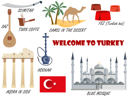 saz: Welcome to Turkey. Symbols of Turkey. Set of icons. Vector.