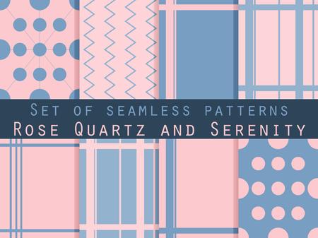 Conjunto de patrones sin fisuras. Patrón transparente geométrica. Cuarzo rosa y serenidad colores violetas.