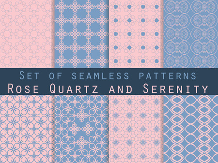 crankle: Set of seamless patterns. Geometric seamless pattern. Rose quartz and serenity violet colors.