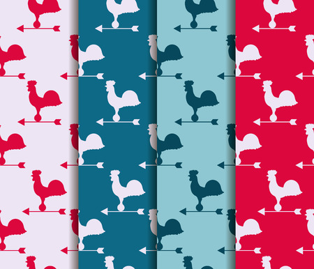 rooster weather vane: Set of seamless patterns. Weather vane rooster. Vector.
