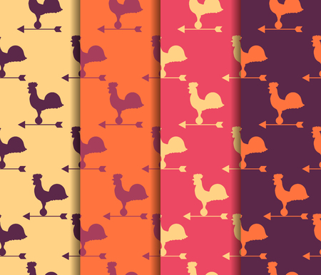 weather vane: Set of seamless patterns. Weather vane rooster. Vector.