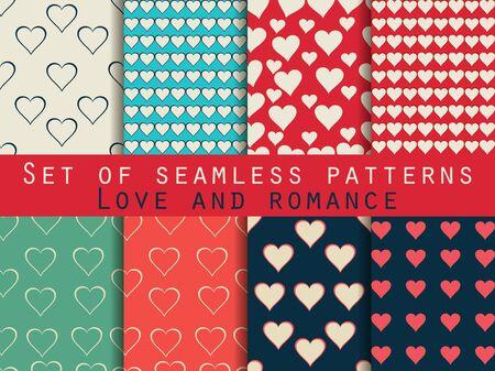 patrones sin fisuras. Conjunto de San Valentín. Ilustración de vector