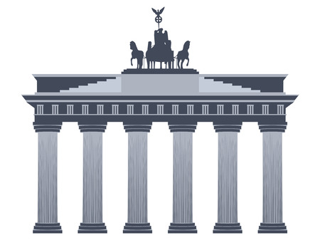 cross and eagle: Brandenburg Gate in Berlin. Isolated on white background. Illustration