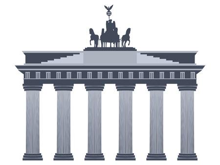 Puerta de Brandenburgo en Berlín. Aislado en el fondo blanco. Ilustración de vector
