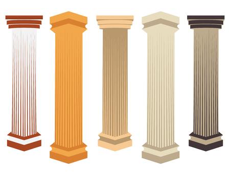 pillar: Column. Doric, Roman style. Set of columns. Vector illustration.